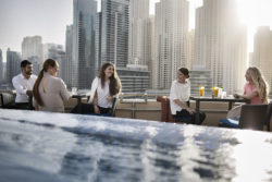 Dubai Marina Skyline with friends